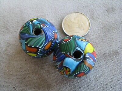 Pr Vintage Colorful Millefiori Art Glass Beads Turquoise Blue 18x23mm