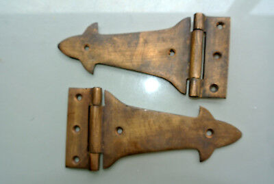 2 small BOX hand made hinges vintage aged style solid Brass DOOR heavy 14 cm
