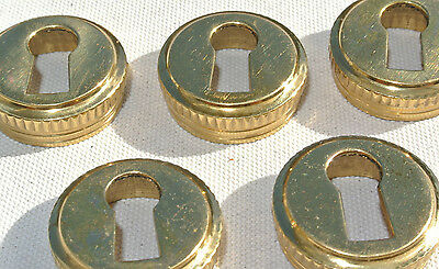 5 Escutcheons key hole covers thread solid brass door small vintage style 21mm