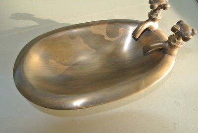 miniatue small BATH SOAP HOLDER Dish heavy collectable Solid Brass antique style