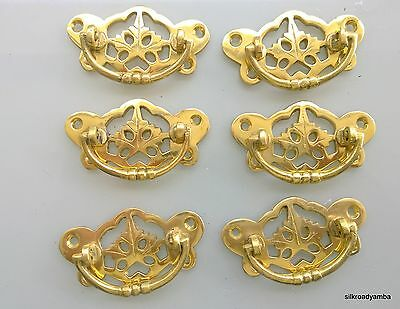 6 heavy handles polished pull solid brass heavy old vintage style drawer 72mm