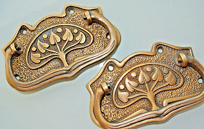 2 large DECO cabinet handles solid brass furniture antiques age old style 112 mm