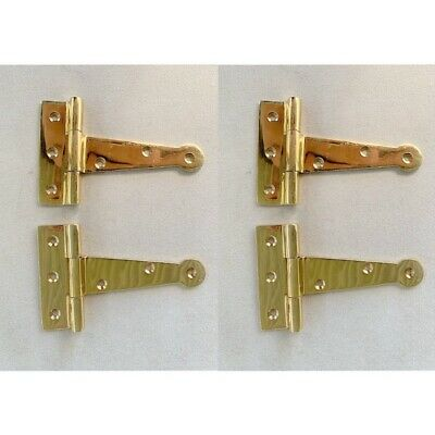 4 polished small hinges vintage aged style solid Brass DOOR BOX heavy 4""