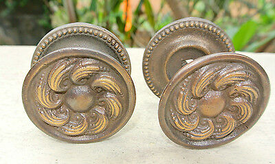 "2 heavy handle KNOB aged old solid Brass PULL large knobs kitchen 2"" georgian"