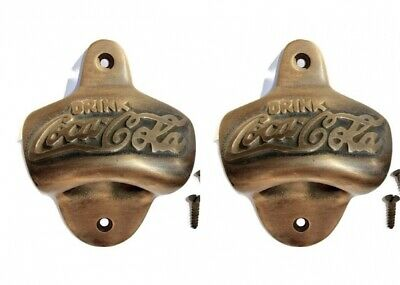 "4 ""coca cola ""Bottle Opener solid aged Brass finish COKE screws vintage style"
