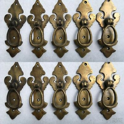 10 pulls handles solid brass door age old style drops knobs kitchen heavy 4""