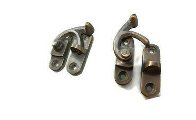 2 Nice medium small box Latch catch solid brass furniture 40 mm doors trinket