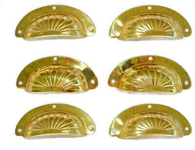 "6 pressed shell shape pulls handle antiques solid brass vintage 4"" POLISHED"