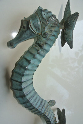 Large brass 35 cm SEAHORSE solid hollow heavy antique oxidised sea side B