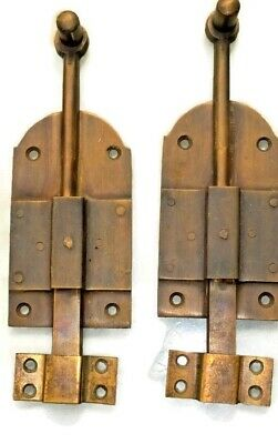 "2 small BOLT old vintage style doors furniture heavy brass flush slide 6"" bolts"