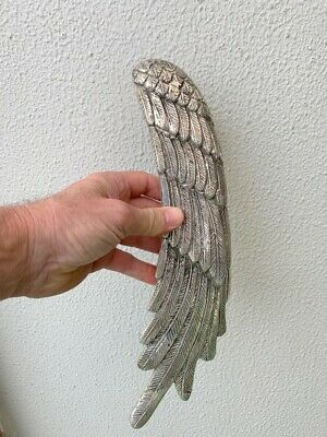 "used ANGEL WING 14"" hollow SILVER plated over 100% real brass door pull handle"