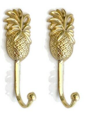 2 PINEAPPLE COAT HOOKS small solid brass vintage old style 120mm hook