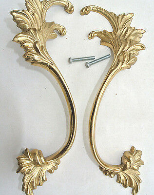 2 polished french style pulls handles pair heavy brass vintage style doors 8""