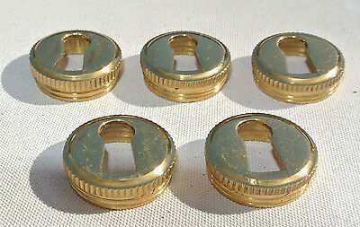 5 Escutcheons key hole covers thread solid brass door small vintage style 19mm