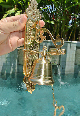 Front Door Bell pull chain heay 100%brass POLISHED old style 26cm screw outdoor