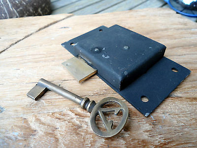 "old style CUPBOARD lock for Antiques doors furniture & brass key 4"" locks flush"