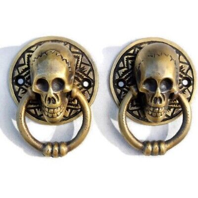 2 small SKULL head handle DOOR PULL ring natural cast BRASS old style 5 cm 2""