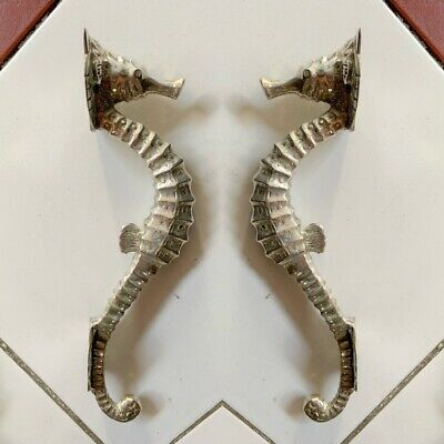 "2 small SEAHORSE solid brass door SILVER plated old style PULL handle 10"" long B"