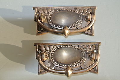 2 heavy vintage old style handles door brass furniture antiques 95 mm pulls