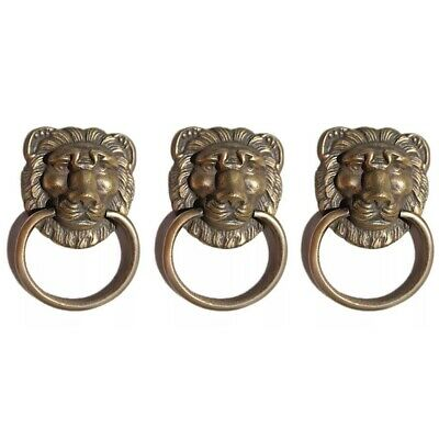 3 LION PULLS handles Small heavy SOLID BRASS old style screws house antiques 2""