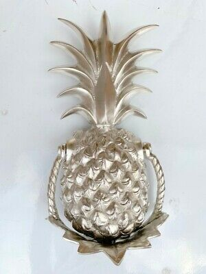 "PINEAPPLE front Door Knocker SILVER solid brass 10"" old style 25 cm very heavy B"