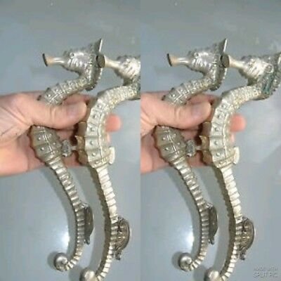 "4 small SEAHORSE solid brass door SILVER plated old style PULL handle 10"" long B"