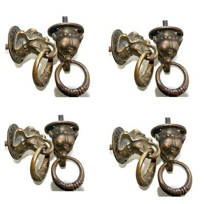 8 small ELEPHANT handle KNOB aged old solid Brass PULL ring knob kitchen 36 mm
