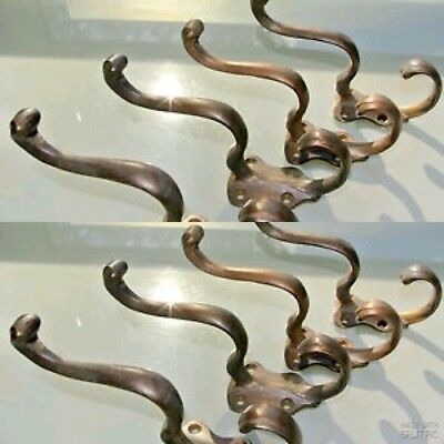 8 COAT HOOKS victorian door solid heavy brass furniture vintage age old style
