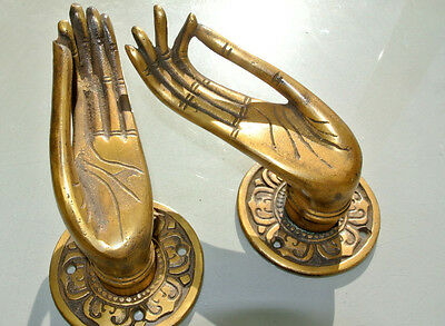 "2 cast Pull handle hands solid brass door aged old style knob hook 5 ""buddha B"