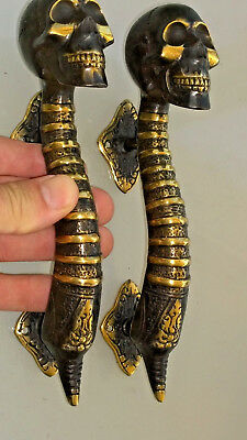 "2 small SKULL head handle DOOR PULL spine AGED  BRASS old style 8"" B"