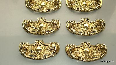 6 heavy handles polished pull solid brass heavy old vintage style drawer 8 cm B