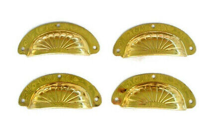"4 pressed shell shape pulls handle antiques solid brass vintage 4"" POLISHED"