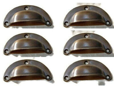 6 small shell shape pulls handles solid brass vintage aged drawer 6.6cm B