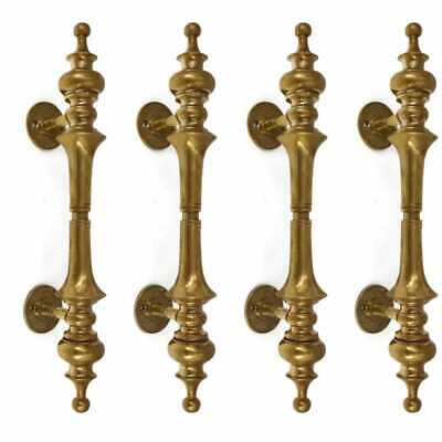 "4 large DOOR handle pulls solid SPUN pure brass vintage aged old style 12 "" B"