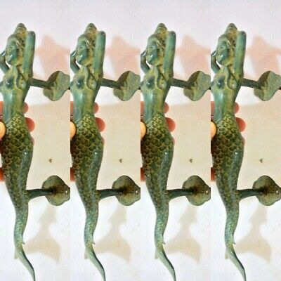 "4 medium MERMAID antique green brass door PULL old style  house PULL handle 13""B"