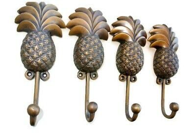 4 large PINEAPPLE COAT HOOKS solid age brass  vintage old style 19cm hook B