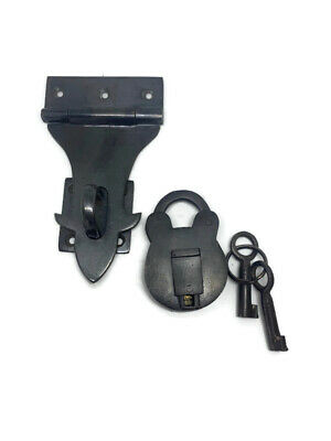 "padlock catch hasp latch vintage style house BOX antiques heavy 3"" solid brass B"