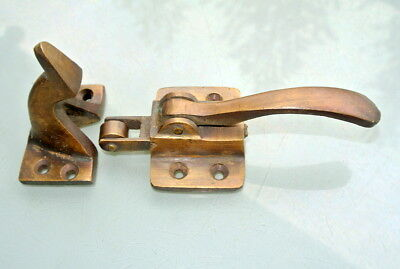 "rare ICE BOX CATCH lever aged style solid Brass heavy offset 4 ""cast meat safe B"