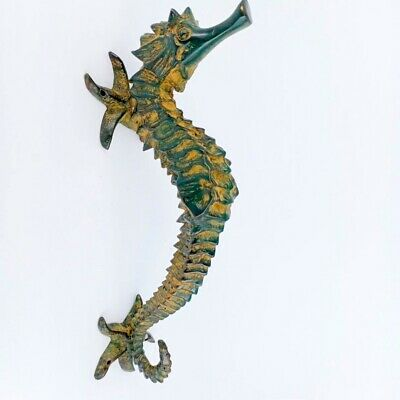 """2 small SEAHORSE solid brass door SILVER old style house PULL handle 10"""" B"""