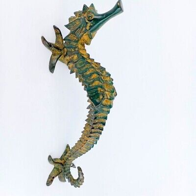 "large aged SEAHORSE solid brass door old style 14"" PULL handle GREEN  patina B"