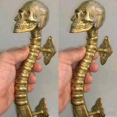 2 medium SKULL handle DOOR PULL spine solid BRASS old style natural 28cm B