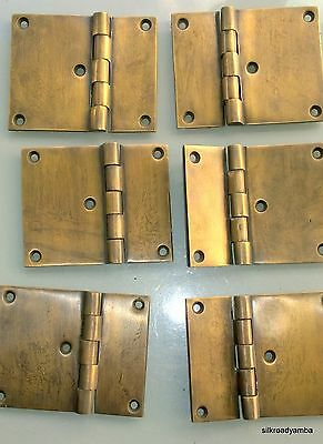 "6 cast hinges vintage age style solid Brass DOOR BOX restoration heavy 3"" B"