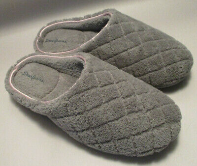 New Dearfoams Womens Small US 5-6 Quilted Soft Gray Memory Foam Slide Slippers