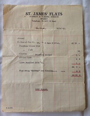 1941 St James Flats, Stanley and Yurong Sts,  Sydney Invoice