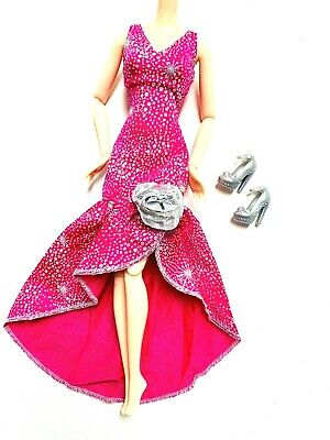 Barbie Doll Dress Mermaid Shape Hot Pink Silver Glitter Accent With Shoes Set