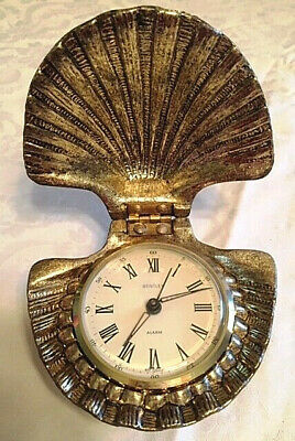"""Vintage Bentley West Germany """"Clamshell"""" Wind Up Alarm Clock-Very Rare"""
