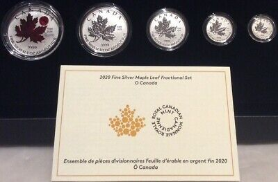 1980-2020 O-Canada National Anthem Act Maple Leaf Fractional Set 5-Coins Silver