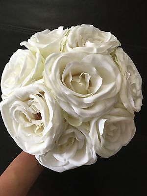 White Silk Flowers , White Roses Bouquet - New! Never Used!