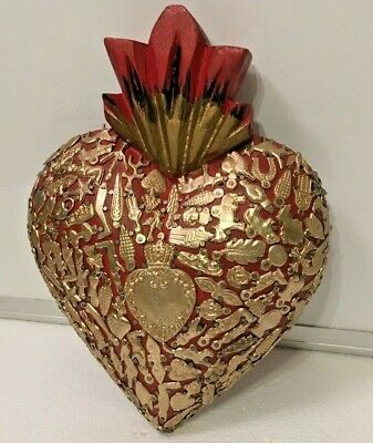 Mexican Milagros Sacred Large Heart Wood Wall Plaque Ex Voto Folk Art