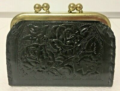 Women's Leather Wallet Coin Purse Mexican Hand Tooled Black